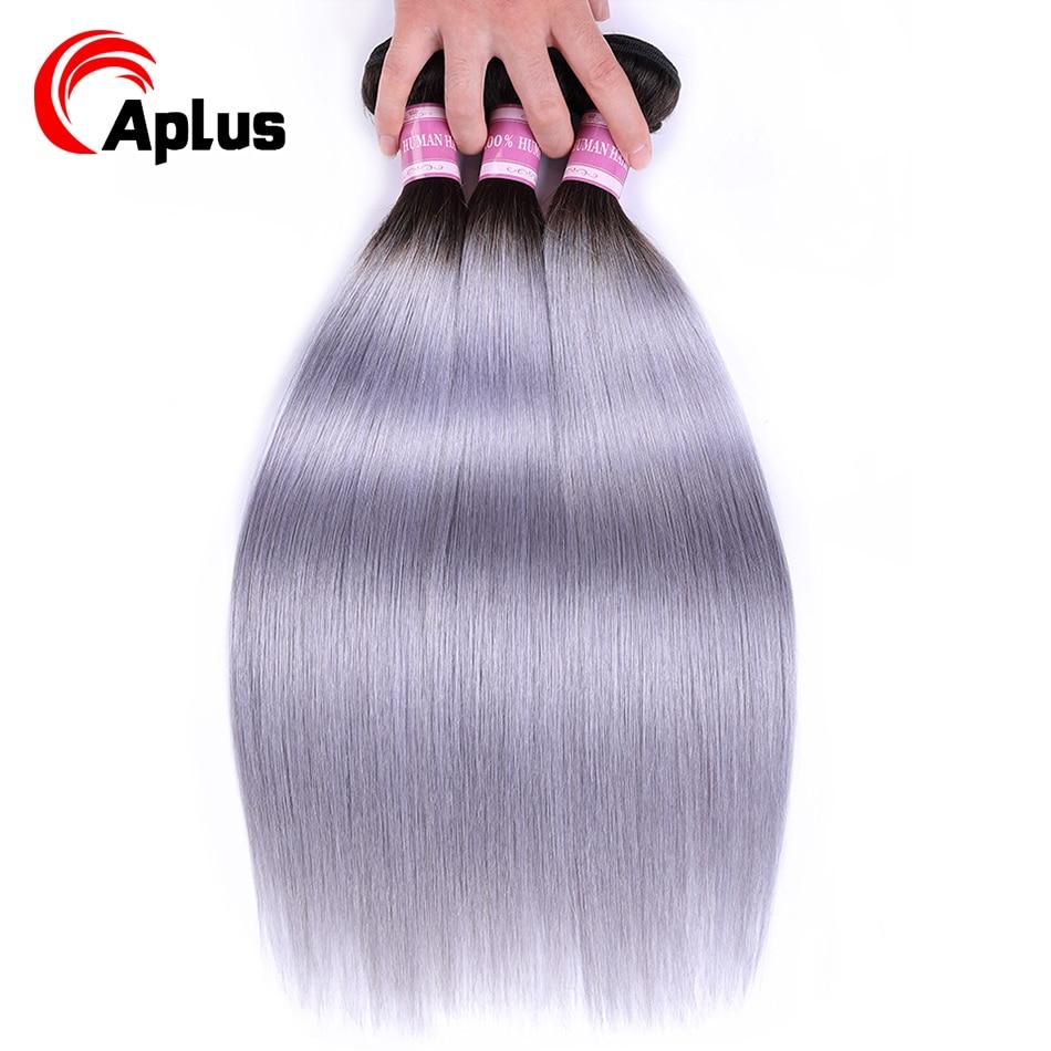 Aplus Pre-Colored Brazilian Hair Weave Bundles T1b/Grey Color Ombre Bundles Deal 3Pcs/Lot Non Remy Straight Human Hair Extension