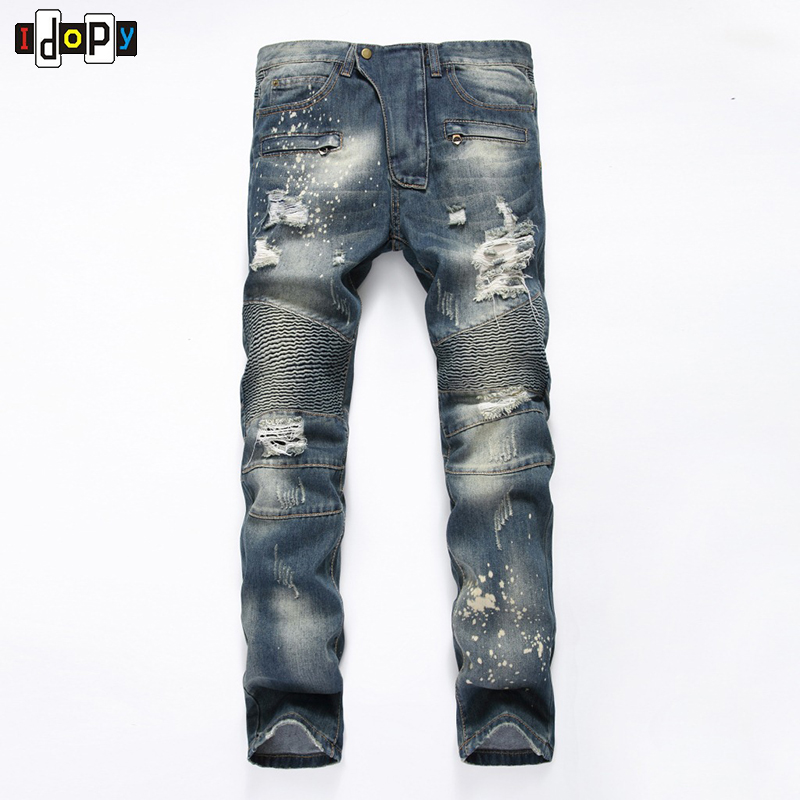 New Mens Skinny Slim Fit Motorcycle Washed Vintage Ripped Pleated Elastic Hip Hop Denim Pants Biker Jeans For Men