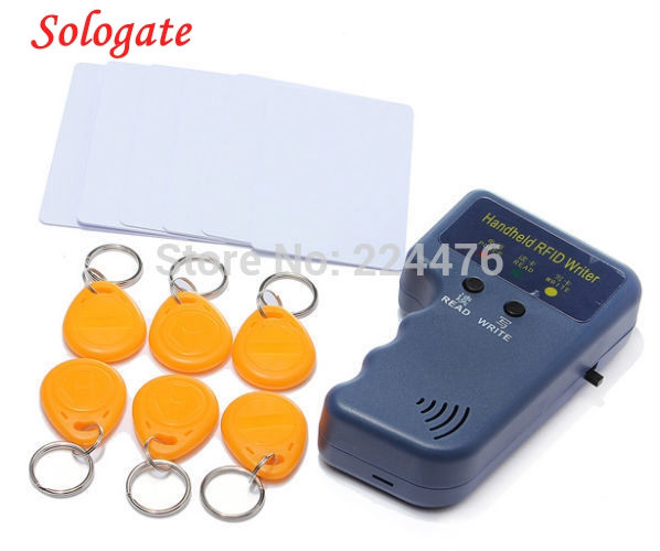 RFID Handheld 125KHz EM4100 ID Card Copier Writer Duplicator with 6 Writable Tags + 6 Writable Cards Wholesale