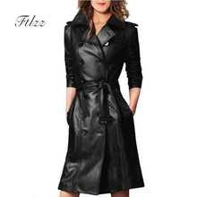 Women Pu Leather Trench Coat Female Overcoat Spring Autumn Long Sleeve