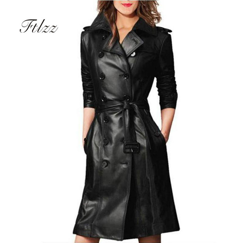 Women Pu Leather   Trench   Coat Female Overcoat Spring Autumn Long Sleeve Double-breasted Long Coat Ladies Plus Size Windbreaker