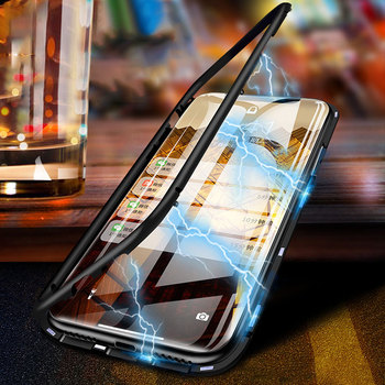 Magnetic iPhone Case 8 7 6 6s Plus X XS XR Max Clear Tempered Glass Clear case