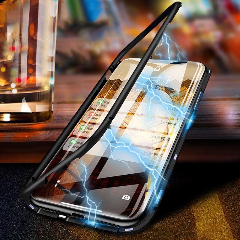TOPZERO Ultra Cassa Del Telefono Magnetica Per iPhone X 8 7 9 H Temperato di Vetro Della Copertura Per il iphone 8 7 Plus caso di X Borsette Capinha Funda Capa