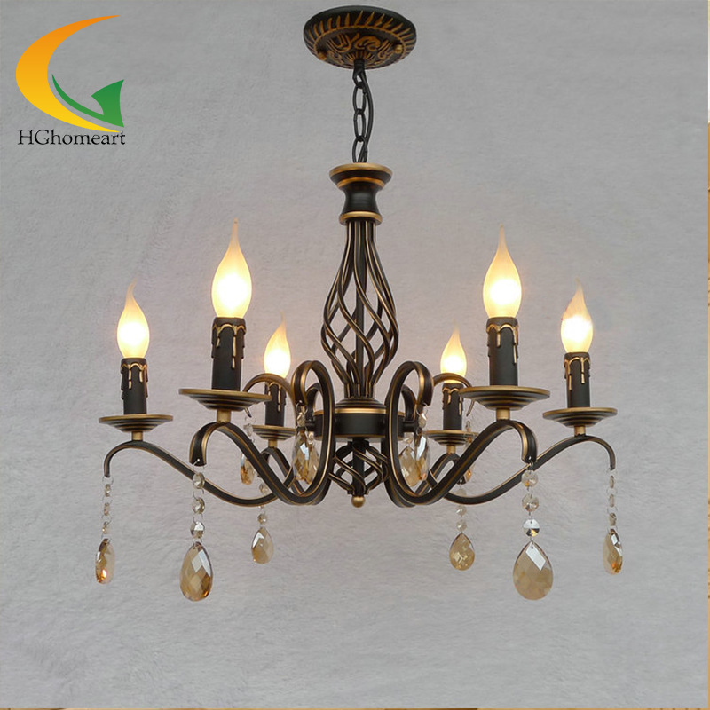 retro chandelier Continental Iron candle chandeliers bedroom chandelier led restaurant wrought iron chandelier ceiling