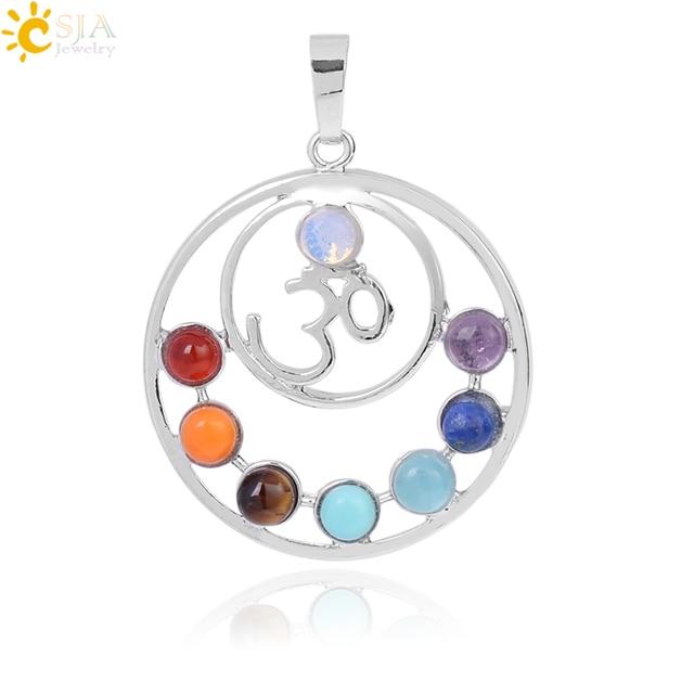 Csja Hot Sale 7 Chakras Reiki Stones Pendants Health Amulet Healing