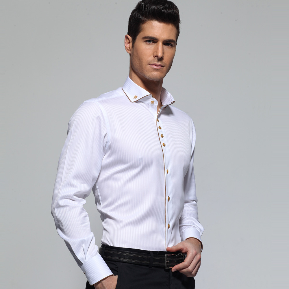 Image 2 - Deepocean Tuxedo Shirt Styles 2019 Camisa Social Masculina 100%  Cotton Brand Shirt White chemise homme French slim Fit Shirts-in Tuxedo Shirts from Men's Clothing