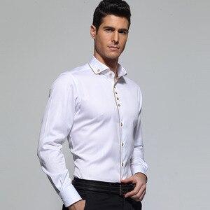 Image 2 - Deepocean Tuxedo Shirt Styles 2019 Camisa Social Masculina 100%  Cotton Brand Shirt White chemise homme French slim Fit Shirts