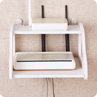 1pc Double Layer TV Set Top Box Phone Storage Rack Wall Hanging Living Room Wall Shelves