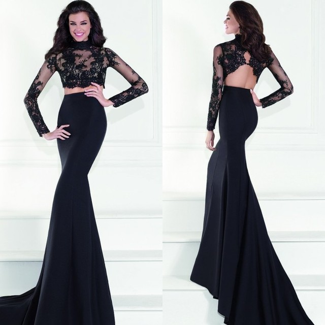 Images of Black Lace Prom Dress With Sleeves - Reikian