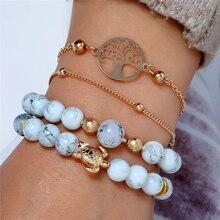 L&H 4PCS/Set New Design Boho Bracelets Set Fashion Beads For Women Map/Sea Turtle Bangles Birthday Gifts