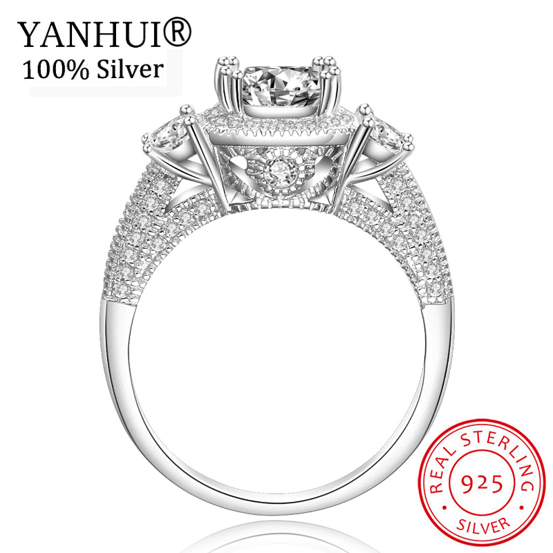 YANHUI 100% Real 925 Solid Sterling Silver Wedding Rings for Women Natural CZ Diamant Engagement Rings Women Gift Jewelry RJZ096 big promotion 100% original 925 silver wedding rings for women natural solitaire 6mm cz diamant engagement rings jewelry rj003