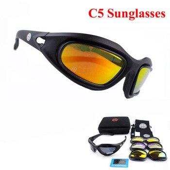 f0ab6e0837 Vidrios tácticos X7 C5 polarizadas deporte Airsoft Paintball senderismo  gafas militares caza tiro gafas con 4 lente
