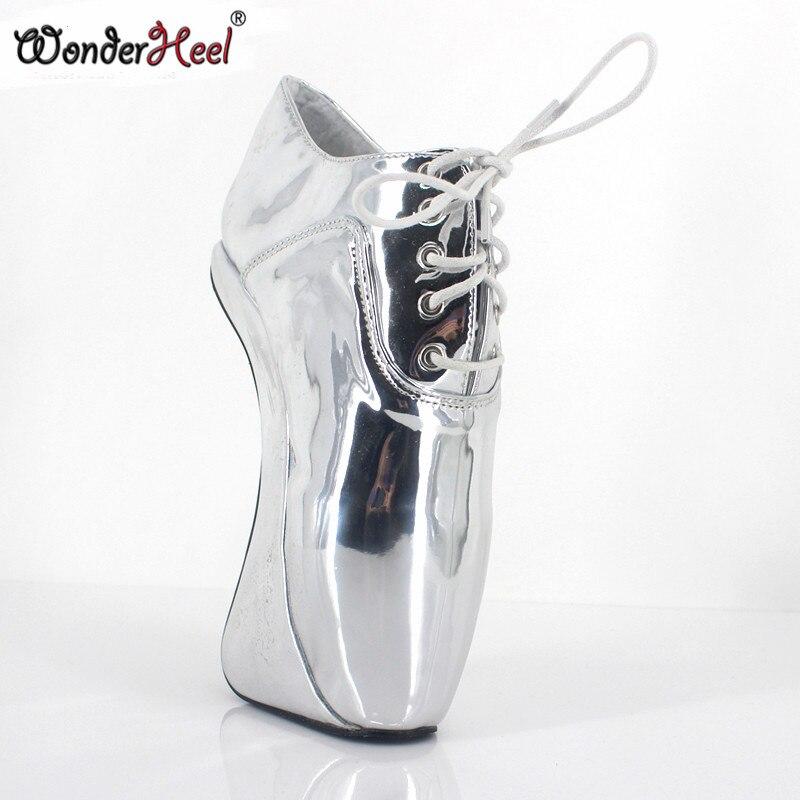 Cortas Wonderheel Botas Fetiche Heel 18 Cordones Cm Tobillo Ballet Heelless Las High Muestran Charol Plata De Sexy Extreme Con qqxrFfvw