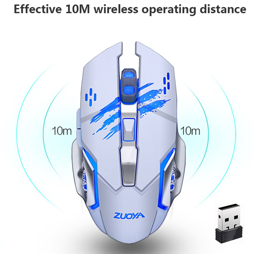 Image 2 - ZUOYA Silent Gaming Wireless Mouse 2.4GHz 2000DPI Rechargeable  Wireless Mice USB Optical Game Backlight Mouse For PC Laptop-in Mice  from Computer