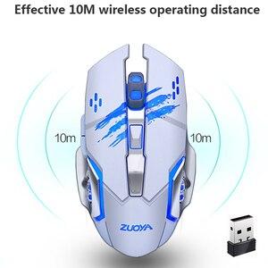 Image 2 - ZUOYA Silenzioso Gaming Mouse Senza Fili 2.4GHz 2000DPI Senza Fili Ricaricabile Mouse USB Mouse Ottico di Gioco Retroilluminazione Del Mouse Per Il PC Del Computer Portatile