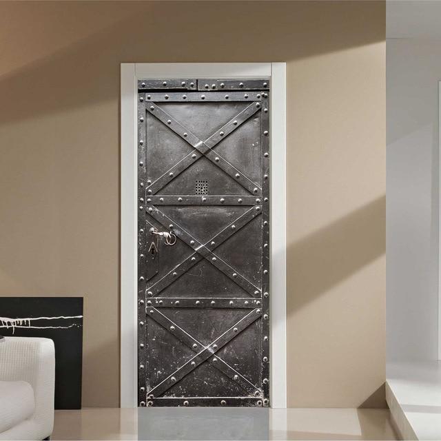 The Iron Door Door Stickers 3D PVC Self-adhesive Wallpaper Waterproof Door Decoration & The Iron Door Door Stickers 3D PVC Self adhesive Wallpaper ...