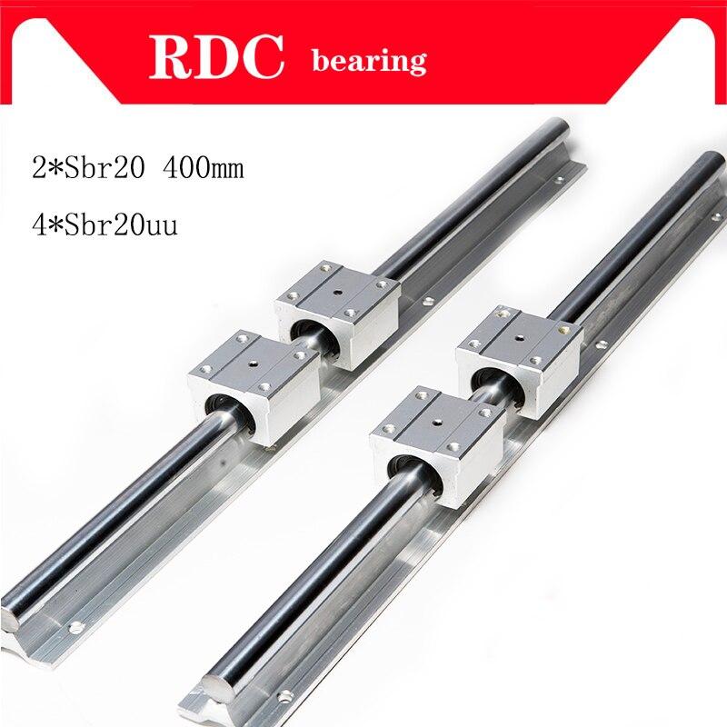 2 ensemble SBR20 400 500mm roulement linéaire soutenu rails + 4 pièces SBR20UU blocs de roulement, sbr20 longueur 400mm pour pièces de CNC