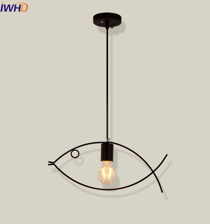 IWHD Iron Light Fixture Vintage Industrial Lighting Pendant Lamp Fish shape Loft Retro Pendant Lights Single Head Hanglamp iwhd loft retro led pendant lights industrial vintage iron hanging lamp stair bar light fixture home lighting hanglamp lustre