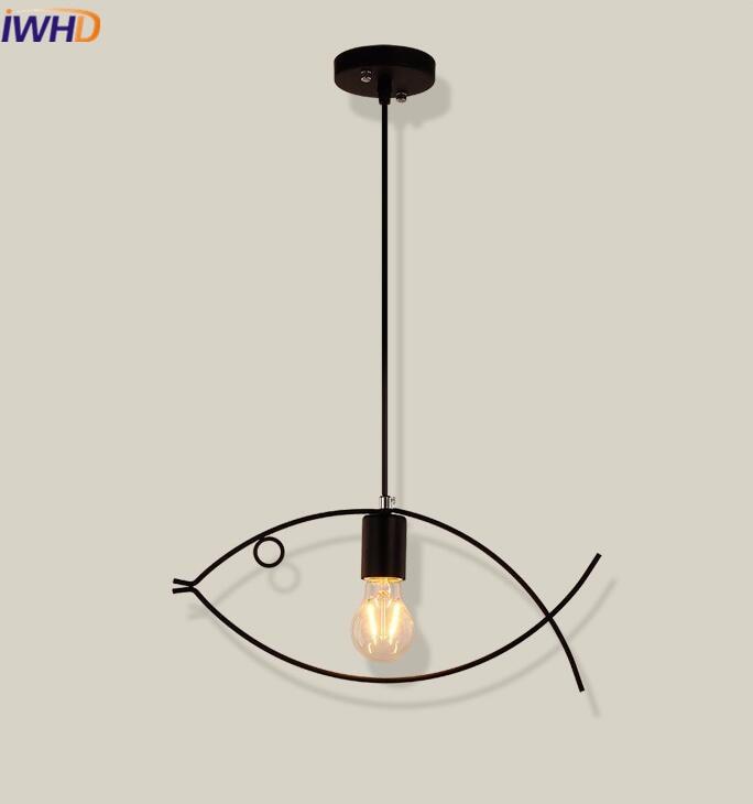 IWHD Iron Light Fixture Vintage Industrial Lighting Pendant Lamp Fish shape Loft Retro Pendant Lights Single Head Hanglamp