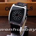 Paidu Black Quartz Black Leather Band Wrist Watch Mens Boy Rectangle Turntable Dial Digital Gift Wristwatches