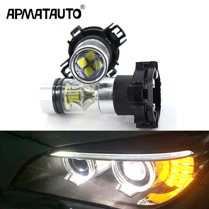 2pcs CANbus PY24W 100w LED Bulbs Front Tail Turn Signal White Amber For BMW 328i 335i M3 X3 X5 X6 Z4 For Audi A4 Quattro Q5 Ect amber error free pwy24w pw24w led bulbs for audi a3 a4 a5 q3 vw mk7 golf cc front turn signal lights for bmw f30 3 series drl
