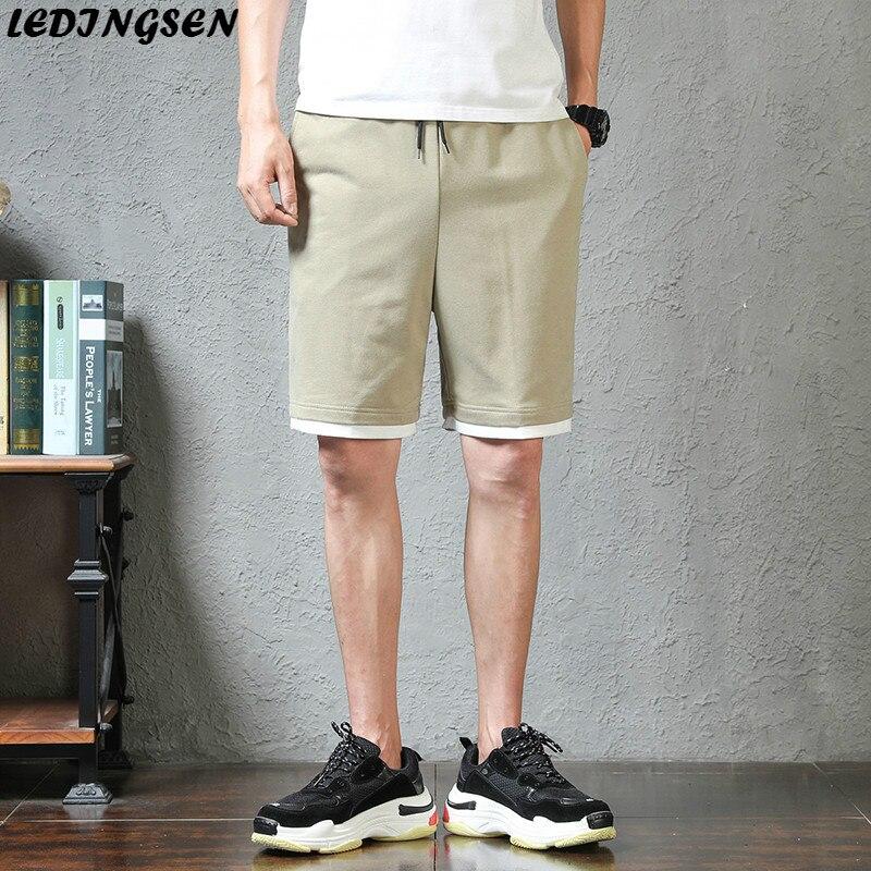 LEDINGSEN 2018 Cotton Summer Khaki Shorts Mens Hip Hop Casual Elastic Waist Knee Length Sweatpants Fashion Streetwear Shorts