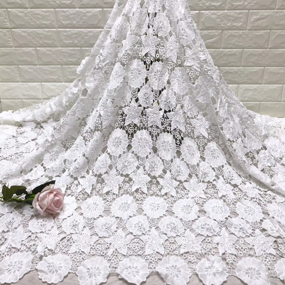High Quality African milk silk Lace Fabric Water Soluble off white Nigerian Guipure Wedding Dress African