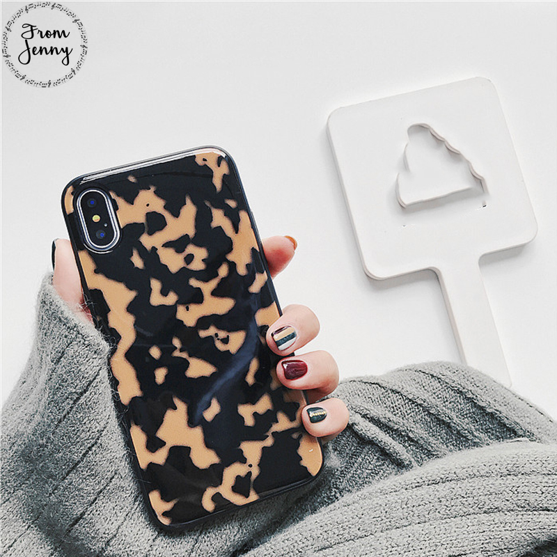 From Jenny Leopard Phone Case for iPhone 6s 6Plus 7 7Plus i7 Stone Texture Funda Cover For iPhone 8 8plus X