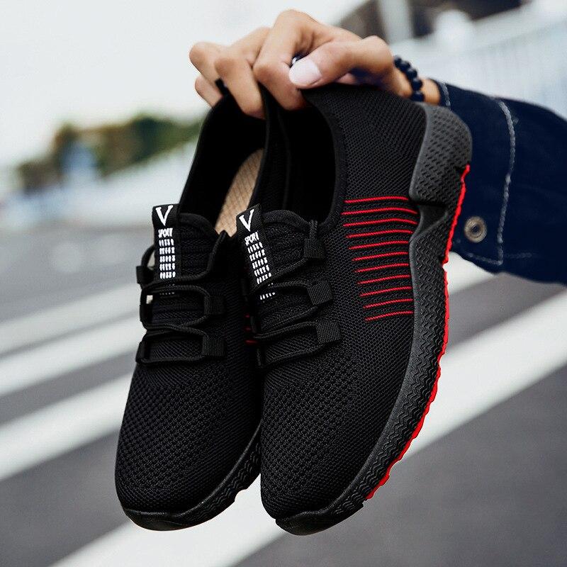 Automne nouvelle mode coréenne Version respirante vraie mouche tissage chaussures pour hommes faible aide chaussures de ville