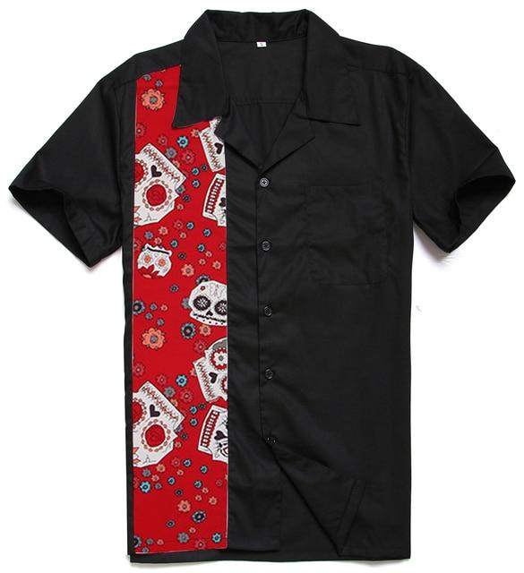 New Chegou Moda Masculina Camisa Social Masculina Red Skulls Impressão  Painel de Rock N Roll Tamanho 8f5bcf05dc3c9