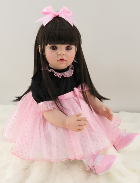 60cm Silicone Reborn Girl Baby Doll Toys 24inch Vinyl Pink Princess Toddler Babies Dolls With Long