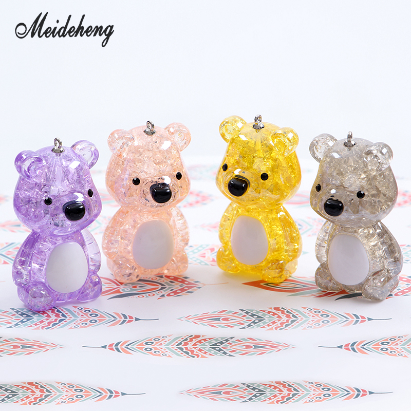Cartoon beads Acrylic Cracked Lovely bear bead Pendant of Key ring Family decoration Children's Gift Girl's favourite Gift