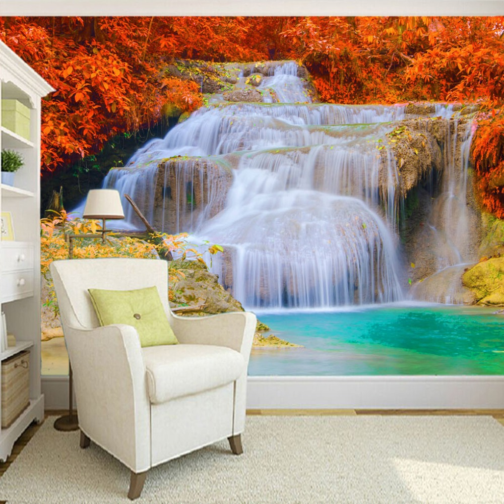 3D Wallpaper Custom Mural Non-woven Waterfall Landscape Photography Background Mural Living Room Bedroom 3D Printed Wall Paper