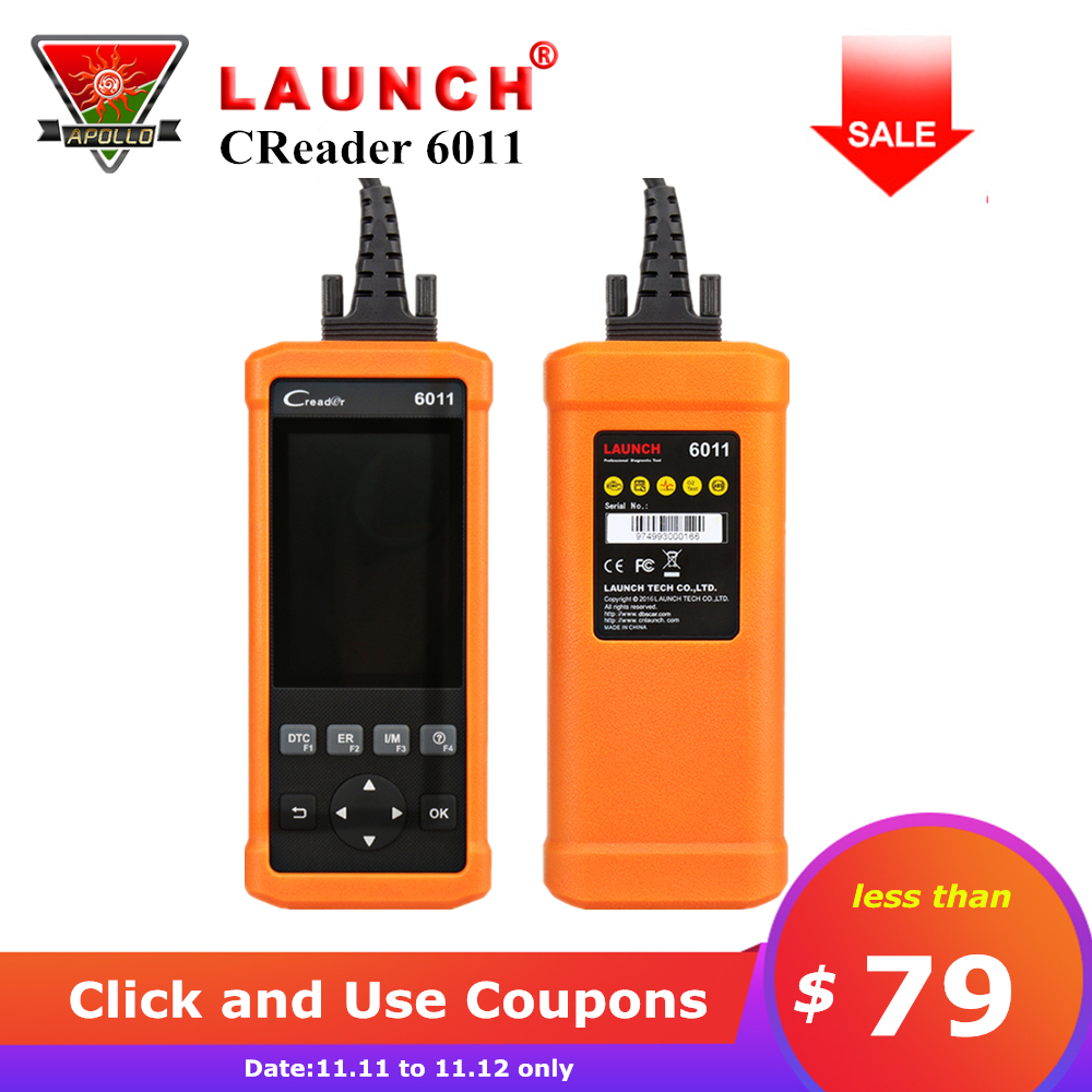 Launch CReader 6011 CR6011 OBD2 EOBD Car Diagnostic Tool Scanner ABS SRS System Full OBDII Functions Code Reader pk Autel AL619 car diy scanner launch creader 519 obd2 eobd code reader scanner read vehicle information car diagnostic tool free update online