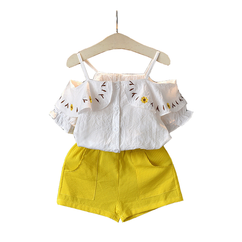 3 4 5 6 7 8 Year Girls Clothes Fashion Off-The-Shoulder Tops Shorts Kids Suits for Girls 2019 New Summer Children Clothing Set3 4 5 6 7 8 Year Girls Clothes Fashion Off-The-Shoulder Tops Shorts Kids Suits for Girls 2019 New Summer Children Clothing Set