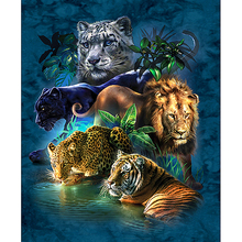 Fezrgea Full Square Diamond 5D DIY Diamond Painting Tiger Lion LeopardEmbroidery Cross Stitch Rhinestone Mosaic Painting Decor full square diamond 5d diy diamond painting tiger lion leopard 3d embroidery cross stitch rhinestone mosaic painting decor bk