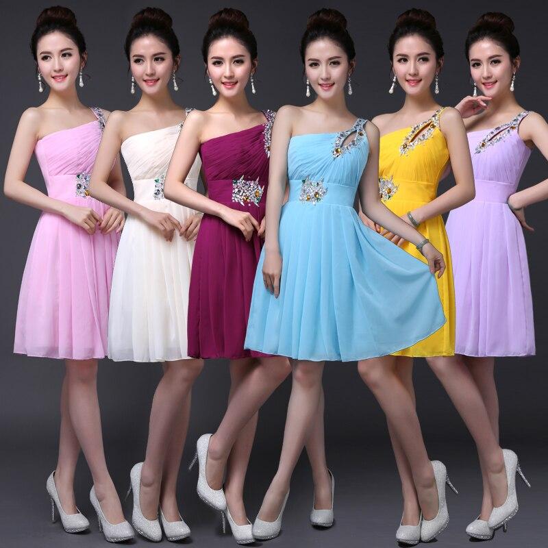 robes de demoiselle d'honneur 2019 chiffon crystal a line one shoulder coral colored   bridesmaid     dresses   short plus size
