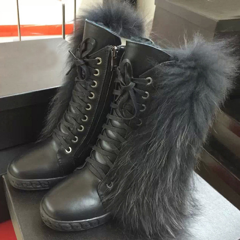 Newest Arrival High Quality Suede Leather Lace-Up Ankle Snow Boots Fur Decorated Luxury Fashion Booties Winter Boots Women