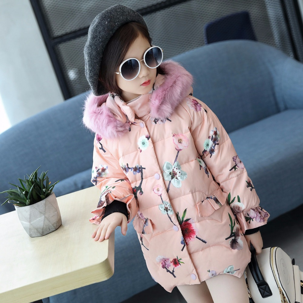 floral printing white duck down long winter jackets for girls thick fur hooded kids girls coats size 8 6 7 4 children clothing 100% white duck down women coat fashion solid hooded fox fur detachable collar winter coats elegant long down coats
