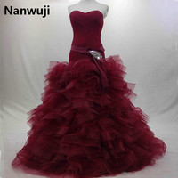 Real Photo Robe De Mariage Dark Red Sweetheart Ruffers Organza Burgundy Long Formal Dress Prom Dress