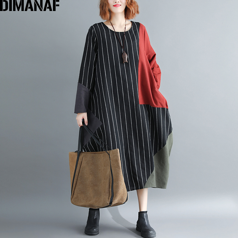 DIMANAF Women Dress Plus Size Large Clothing Autumn Female Lady Vintage Vestidos Striped Patchwork Casual Oversized Loose Black