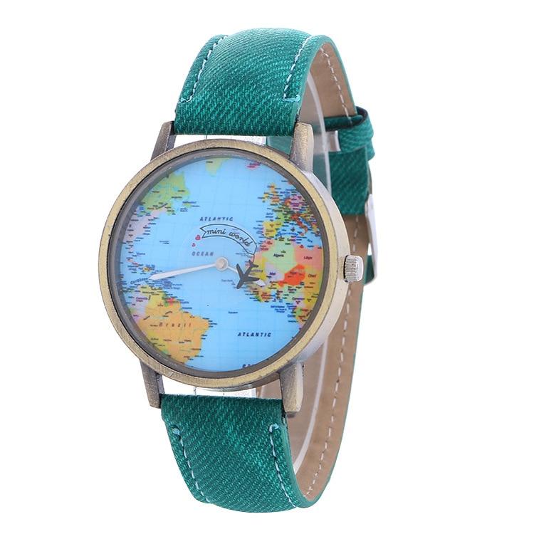 Mini World Fashion Quartz Watch Men Unisex Map Airplane Travel Around The World Women Leather Dress Wristwatches Reloj Mujer