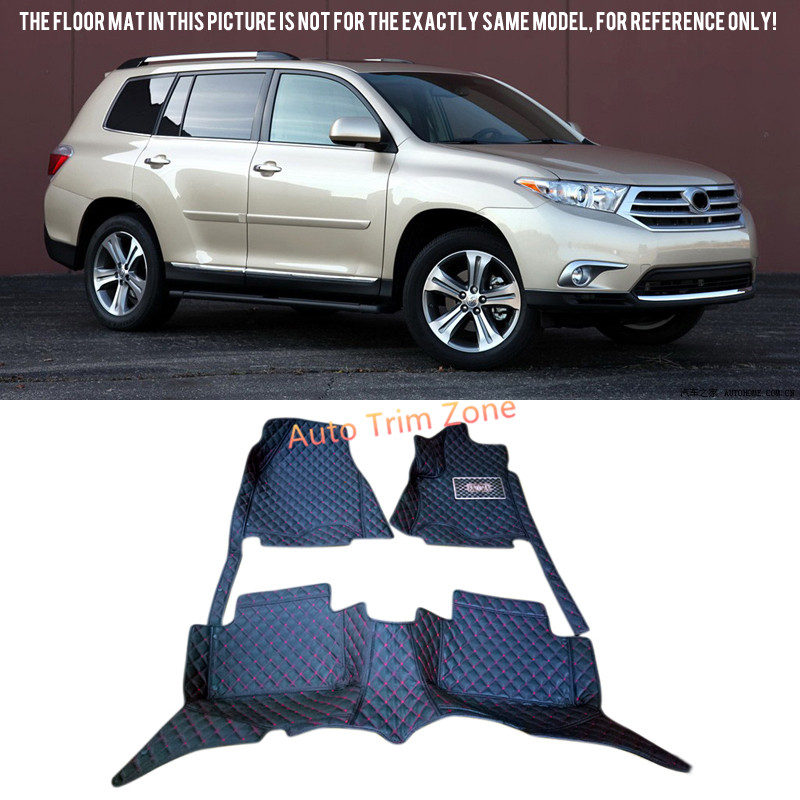 Black Interior Leather Floor Mats & Carpets For Toyota Highlander/Kluger Five-Seat 2008-2013 XU40