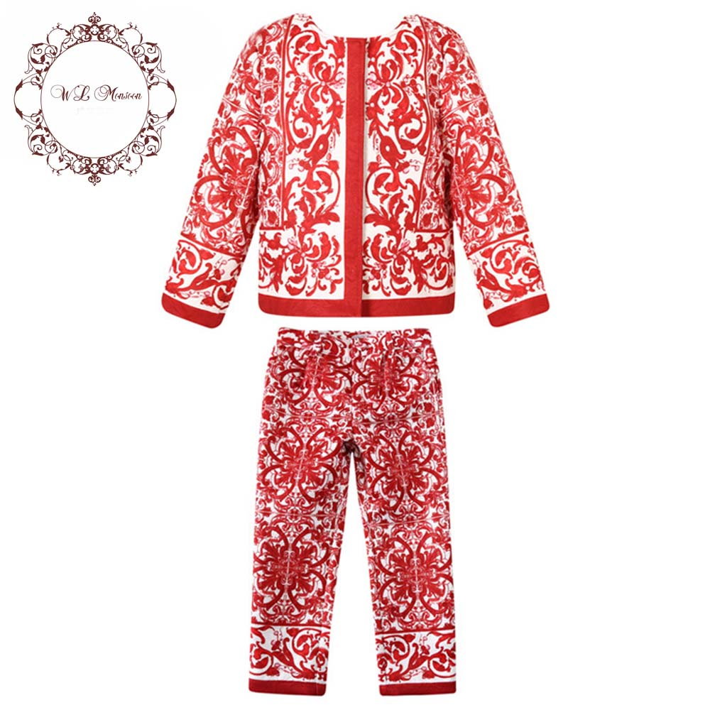 Girls Clothing Sets Christmas Winter Suit for Girls Clothes Jacket+Pants Kids Tracksuit Single Breasted Girls Children Clothing autumn winter boys girls clothes sets sports suits children warm clothing kids cartoon jacket pants long sleeved christmas suit