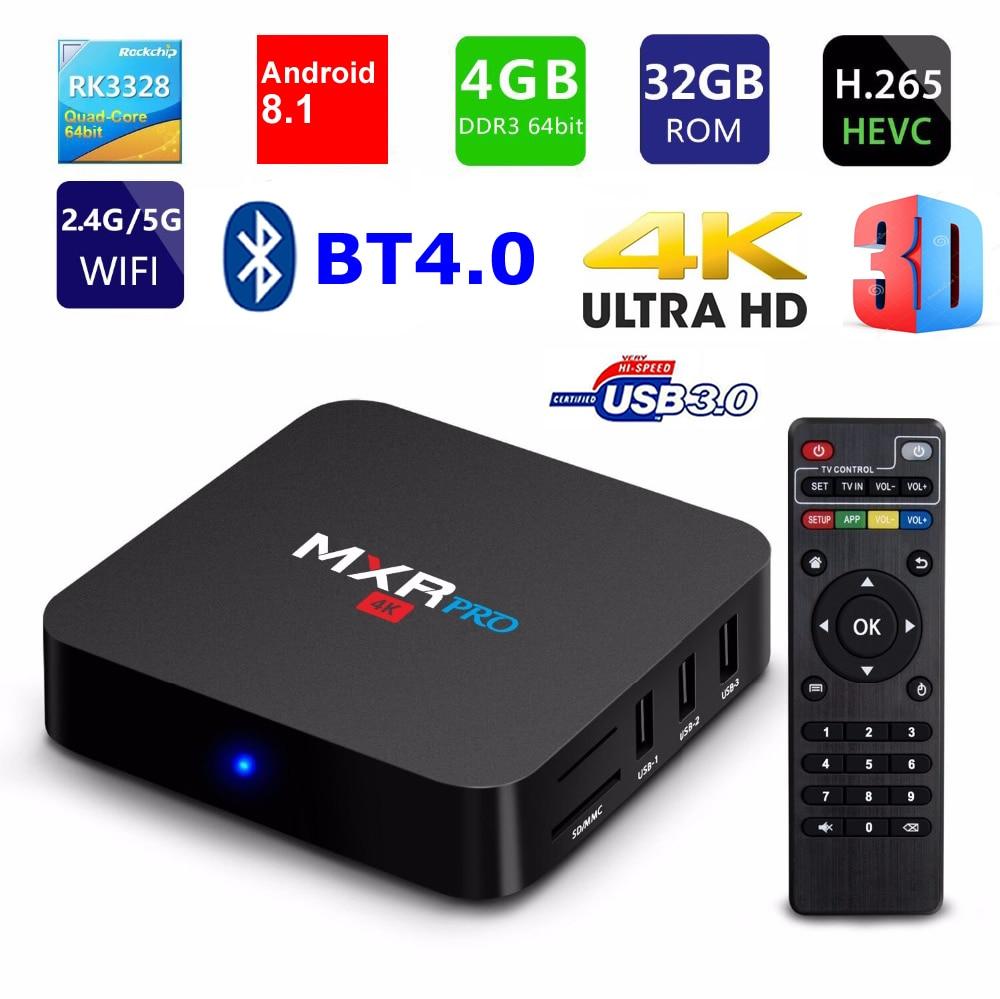 MXR PRO Smart TV BOX Android 8.1 RK3328 Quad Core 4G Ram 32G Rom 2.4G 5G double WIFI BT4.0 USB 3.0 3D 4K HDR H265 TV décodeur