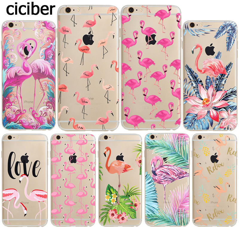Hot Flamingo Phone Cases Summer Flamencos Pattern Soft Silicone TPU Transparent Clear Coque for iphone 8 6S X 7 plus 5S SE Cover