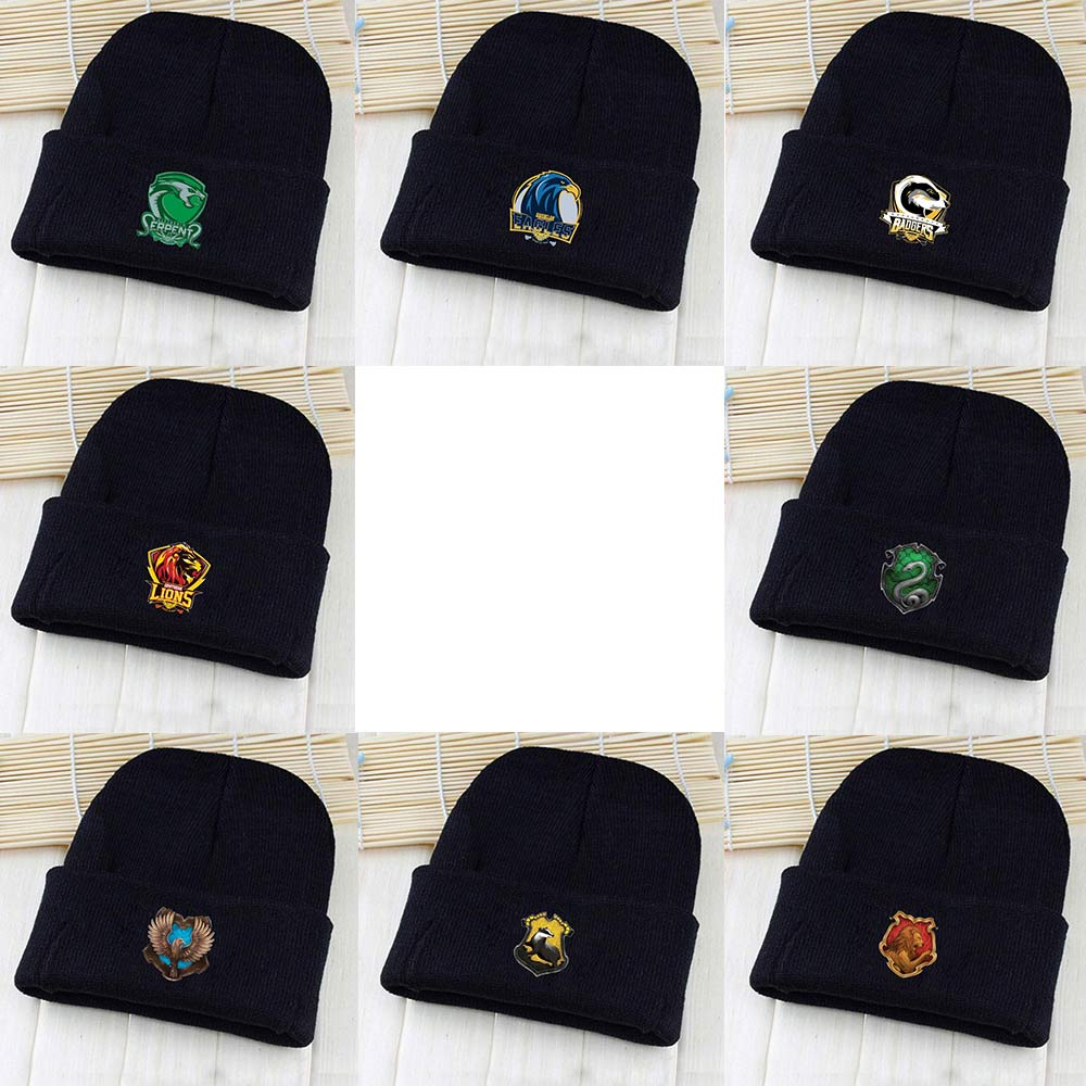 OHCOMICS Harri Potter HP Gryffindor/Hogwarts Slytherin Hufflepuff Pointy Hat Knitted Cap Hip-Hop Beanies Solid Caps Costume Gift