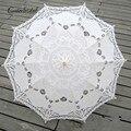 Sol quente Algodão Bordado Noiva Do Guarda-chuva Guarda-chuva Branco Marfim Battenburg Lace Parasol Umbrella Guarda-chuva De Casamento Decorações