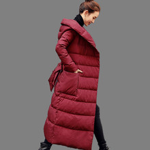 Women Winter Coat New High-quality Hooded White Duck Down Jacket Fashion Long Leisure Coat Large size Thick Down Jacket AA323