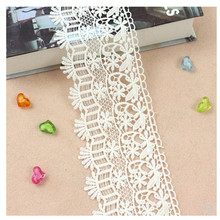 1 Yard Width 10 Milk Silk Embroidered Lace White Fabric African Trim Latest Ribbon Wedding Applique Clothes Decor